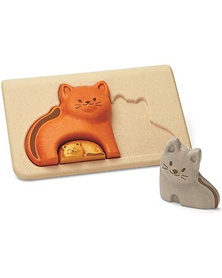 PlanToys Wooden Cat Puzzle, 3 pieces - Eco-friendly fun! Puzzles