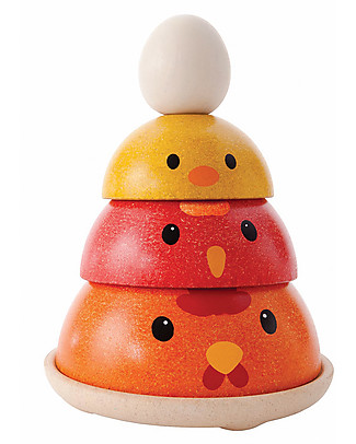 PlanToys Wooden Chicken Nesting 4 pieces - Eco-friendly fun! Wooden Blocks & Construction Sets