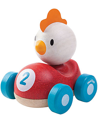 PlanToys Wooden Chicken Racer, 11 cm - Eco-friendly fun! Wooden Toy Cars, Trains & Trucks