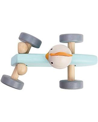 PlanToys Wooden Chicken Racing Car - Start the Race! Wooden Toy Cars, Trains & Trucks