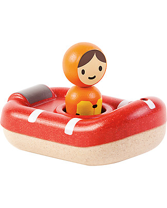 PlanToys Wooden Coast Guard Boat, 8.5 x 12 x 5.5 cm - Eco-friendly fun! Beach Toys
