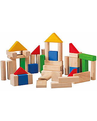 PlanToys Wooden Colorful and Natural Blocks - 50 Pieces Building Blocks