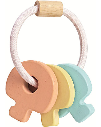 PlanToys Wooden Colorful Key Rattle - Eco-friendly Wooden Rattles