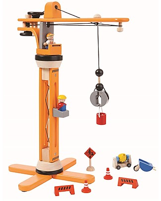 PlanToys Wooden Crane Set - Fun and educational Wooden Blocks & Construction Sets