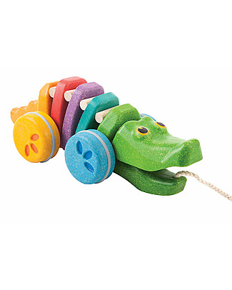 PlanToys Wooden Dancing Alligator, Pull-Along Toy, Rainbow - Eco-friendly fun! Wooden Push & Pull Toys