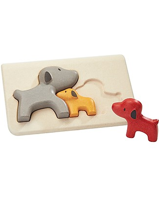 PlanToys Wooden Dog Puzzle, 3 pieces - Eco-friendly fun! Puzzles