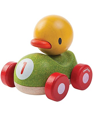 PlanToys Wooden Duck Racer, 11 cm - Eco-friendly fun! Wooden Toy Cars, Trains & Trucks