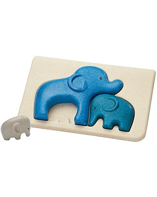PlanToys Wooden Elephant Puzzle, 3 pieces - Eco-friendly fun! Puzzles