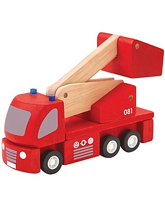 PlanToys Wooden Fire Engine - Eco-friendly and Safe! Wooden Toy Cars, Trains & Trucks