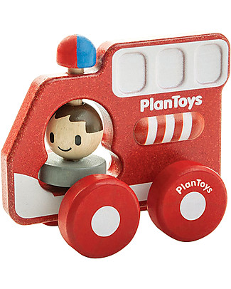 PlanToys Wooden Fire Truck, 16 cm - Eco-friendly fun! Creative Toys