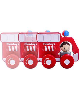 PlanToys Wooden Fire Truck, 16 cm - Eco-friendly fun! Creative Toys