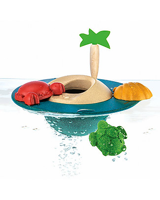 PlanToys Wooden Floating Island, 21 x 21 cm - Eco-friendly fun! Beach Toys