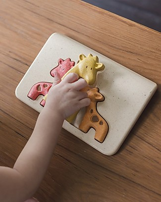 PlanToys Wooden Giraffe Puzzle, 3 pieces - Eco-friendly fun! Puzzles