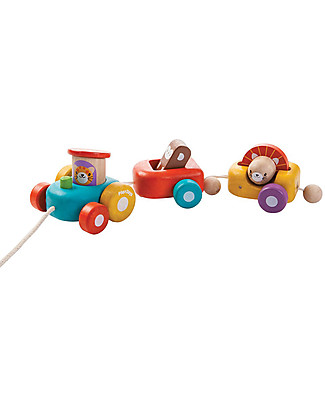 PlanToys Wooden Happy Engine, Pull-Along Toy, 3 pieces - Eco-friendly fun! Wooden Push & Pull Toys