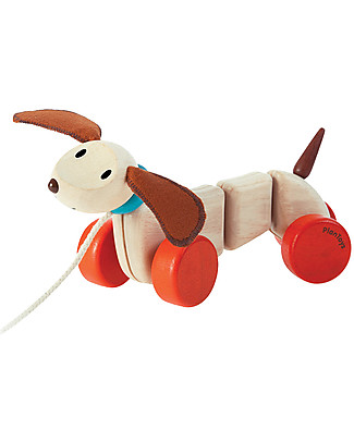PlanToys Wooden Happy Puppy, Pull-Along Toy - Encourage new Walkers Wooden Push & Pull Toys