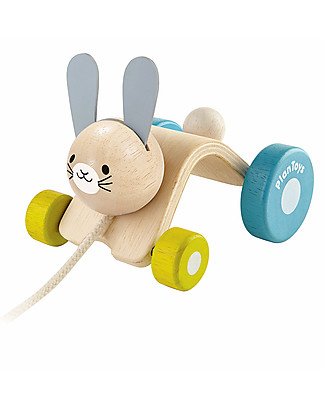 PlanToys Wooden Hopping Rabbit, Pull-Along Toy - Eco-friendly fun! Wooden Push & Pull Toys