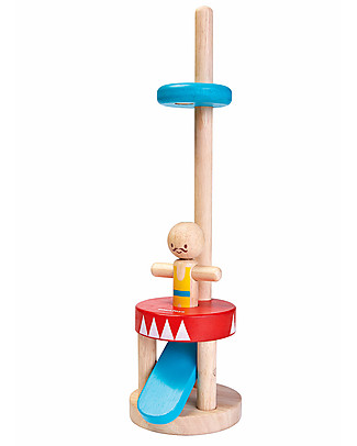 PlanToys Wooden Jumping Acrobat, 30 cm - Eco-friendly fun! Wooden Push & Pull Toys