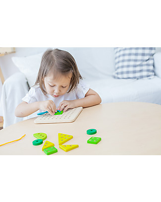 PlanToys Wooden Lacing Board - Improves motor skills and coordination Wooden Stacking Toys