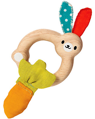 PlanToys Wooden Little Bunny Rattle, 4+ months - Eco-friendly fun! Teethers