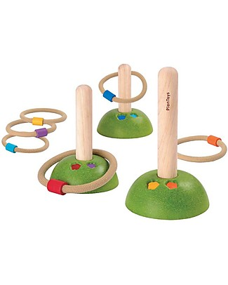 PlanToys Wooden Meadow Ring Toss - Challenge Friends Outdoor Games & Toys