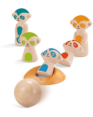 PlanToys Wooden Meerkat Bowling, 7 pieces - Eco-friendly fun! Outdoor Games & Toys