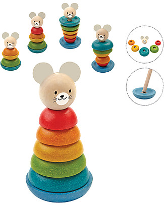 PlanToys Wooden Mouse Stacking Ring, 7 pieces - Eco-friendly fun! Art & Craft Kits