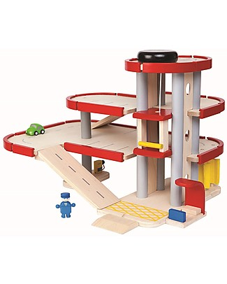 PlanToys Wooden Parking Garage - Fun and educational Wooden Toy Cars, Trains & Trucks
