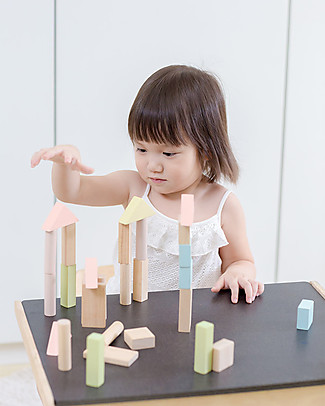 PlanToys Wooden Pastel and Natural Blocks - 40 Pieces Building Blocks