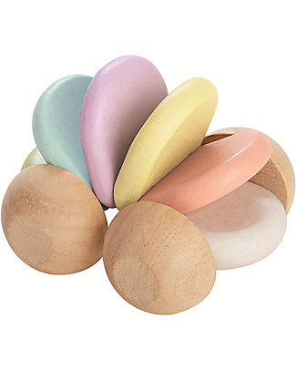 PlanToys Wooden Pastel Car and Rattle - Eco-friendly and Funny! Wooden Rattles