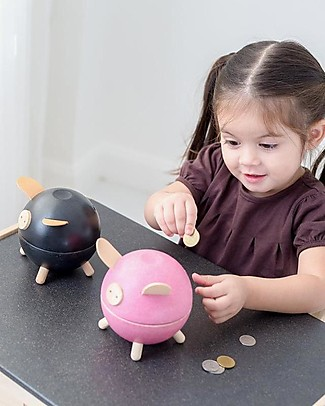 PlanToys Wooden Piggy Bank Black Money Box