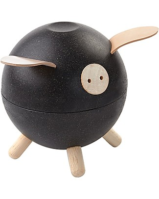 PlanToys Wooden Piggy Bank Black Party Favours