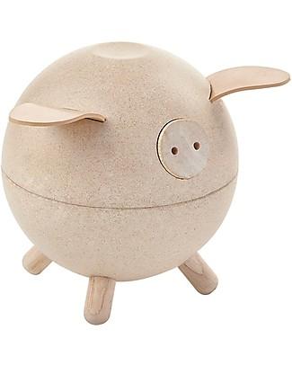 PlanToys Wooden Piggy Bank Natural Money Box