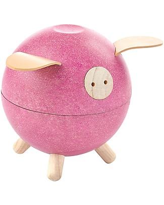 PlanToys Wooden Piggy Bank Pink Money Box
