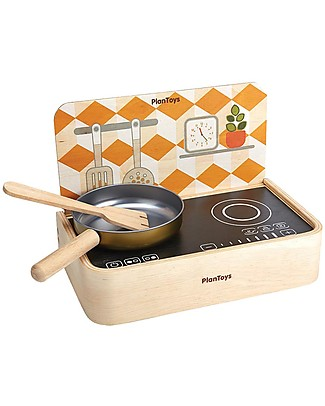 PlanToys Wooden Portable Kitchen with Frying Pan - for Little Chef Story Making Games