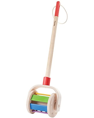 PlanToys Wooden Push-Along Toy and Rattle, Walk and Roll Wooden Push & Pull Toys