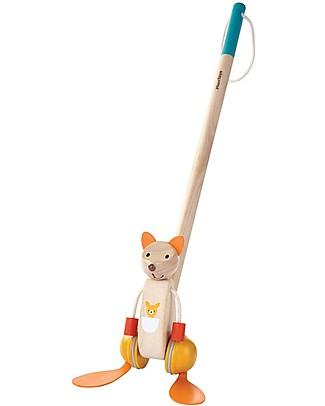 PlanToys Wooden Push-Along Toy, Dancing Kangaroo - Encourage To Walk! Wooden Push & Pull Toys