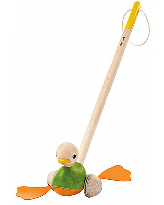 PlanToys Wooden Push-Along Toy, Duck - Eco-friendly fun! Wooden Push & Pull Toys
