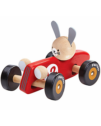 PlanToys Wooden Rabbit Racing Car, 16 cm - Eco-friendly fun! Wooden Push & Pull Toys