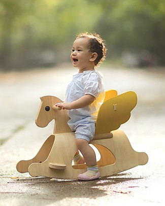 PlanToys Wooden Rocking Horse with Wings Pegasus Rides On