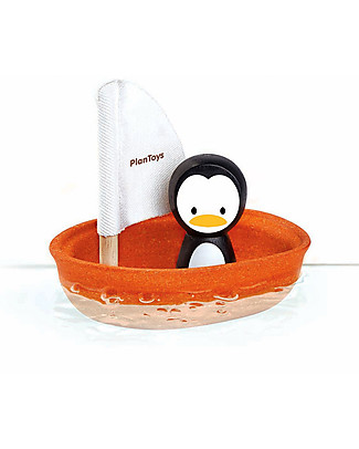 PlanToys Wooden Sailing Boat, Penguin 9 x 12 x 13 cm - Eco-friendly fun! Beach Toys