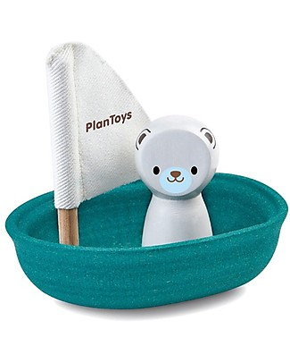 PlanToys Wooden Sailing Boat, Polar Bear 9x12x13 cm - Eco-friendly fun! Bath Toys