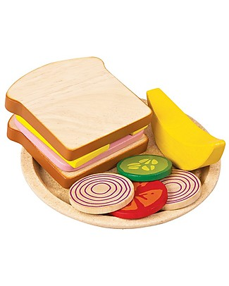 PlanToys Wooden Sandwich Meal - Teach to Eat Any Kind of Food Story Making Games