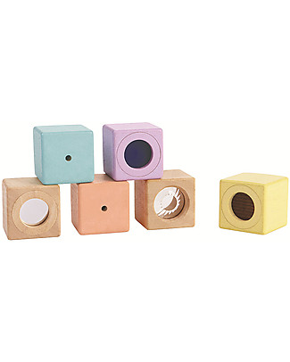 PlanToys Wooden Sensory Blocks - Visual, Auditory and Tactile Development Building Blocks