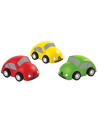 PlanToys Wooden Set of Colorful Cars, 3 pieces Wooden Toy Cars, Trains & Trucks