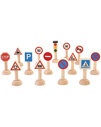 PlanToys Wooden Set of Traffic Signal and Lights, 14 pieces - Educational Fun! Wooden Toy Cars, Trains & Trucks