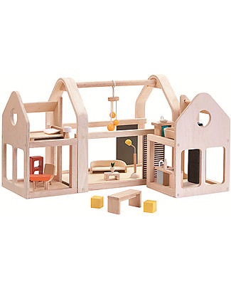 PlanToys Wooden Slide n Go Dollhouse - Portable with Furniture Dolls Houses
