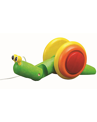 PlanToys Wooden Snail, Pull-Along Toy - Encourage new Walkers Wooden Push & Pull Toys