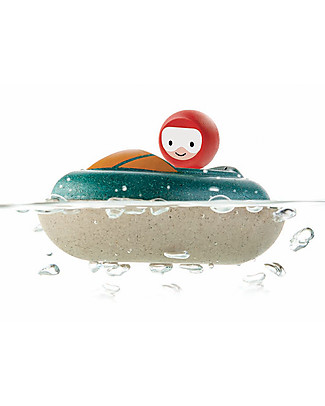 PlanToys Wooden Speed Boat, 8.5 x 12 x 5.5 cm - Eco-friendly fun! Beach Toys