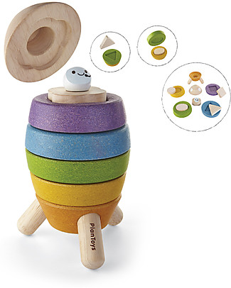 PlanToys Wooden Stacking Rockets 6 pieces - Eco-friendly fun! Wooden Blocks & Construction Sets