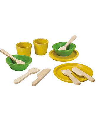 PlanToys Wooden Tableware Set - Funny and Educational Story Making Games